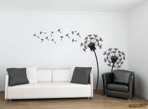 Pampelišky a chmýří jako dekorace na zeď