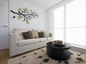 rostoucí větvička jako samolepka na zeď
