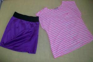 Asymetrické tričko a sukně do pasu
