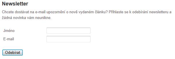 Newsletter na Okouzli.cz