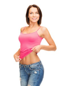 health, diet and beauty concept - happy woman taking off blank p